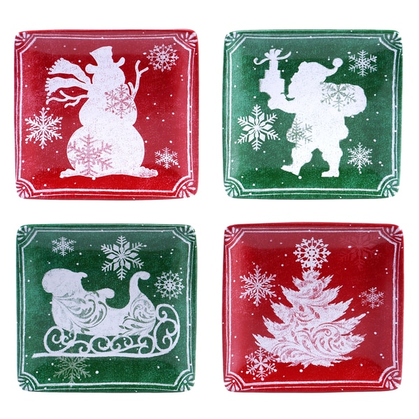 "Certified International - Chalkboard Christmas 16"" Canape Plates (Set of Four)"