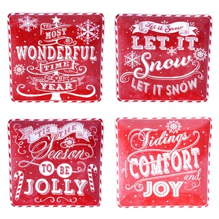 "Certified International - Chalkboard Christmas Red 10.5"" Dinner Plates (Set of 4)"