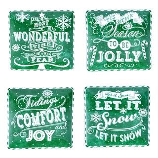 "Certified International - Chalkboard Christmas Green 10.5"" Dinner Plates (Set of 4)"