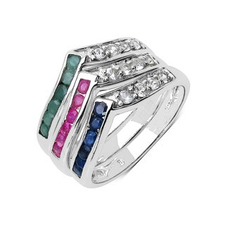 Malaika 1.32 Carat Genuine Multi Stone .925 Sterling Silver Ring