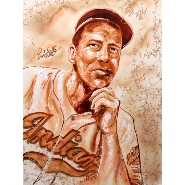 Gary Longordo Bob Feller Autographed Sports Memorabilia Painting