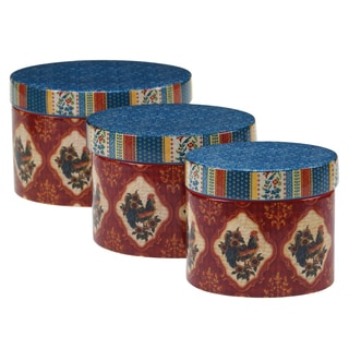 Certified International - French Country Stackable Oval Covered Boxes 3 Piece Ceramic Set