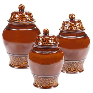 Certified International - Solstice Brown 3 Piece Canister Set