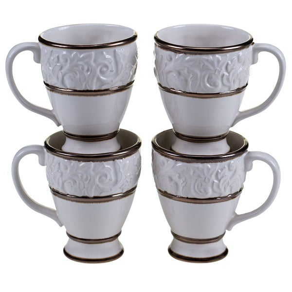 Certified International - Solstice Cream 16oz Mugs (Set of 4)