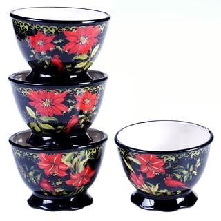 "Certified International - Botanical Christmas Ice Cream Bowls, 5.25"" x 3.75"" (Set of 4)"