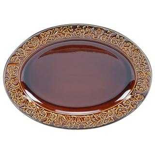 "Certified International - Solstice Brown Oval Platter 16"" x 12"""