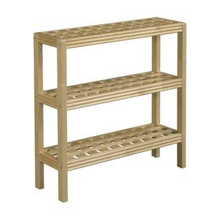 Somette Beaumont Solid Birch Wood Blonde 3-shelf Console/ Shoe Rack