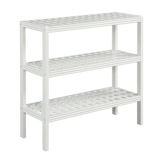 Somette Beaumont Solid Birch Wood Pure White 3-shelf Large Console