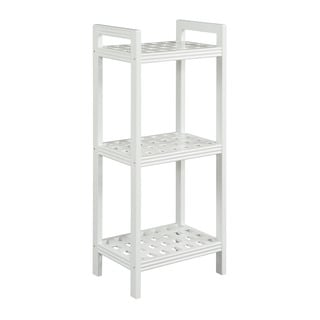 Somette Beaumont Solid Birch Wood Pure White Shelf Tower