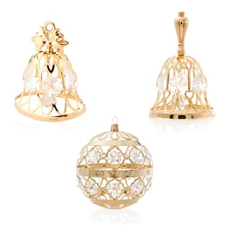 Matashi KTCT4 - 24K Gold Plated Jingle Bells Collection Ornaments Made with Genuine Matashi Crystals