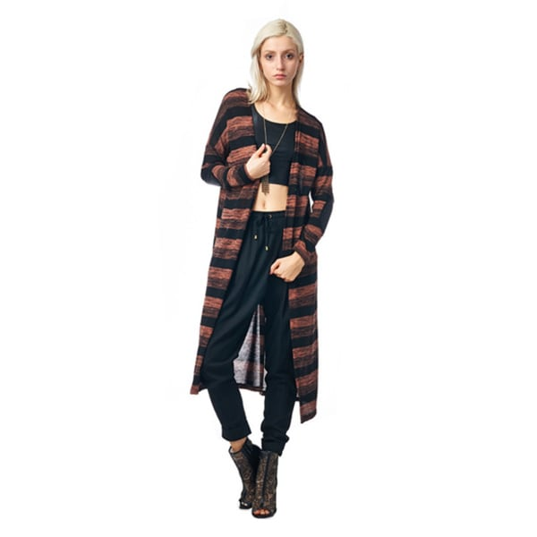 Always Me Clothing Women's Blush Striped Long Cardigan