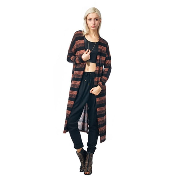 Always Me Clothing Pumpkin/ Black Striped Long Cardigan