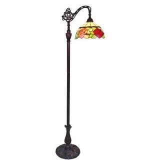 Amora Lighting AM070FL12 Tiffany Style Roses Reading Floor Lamp