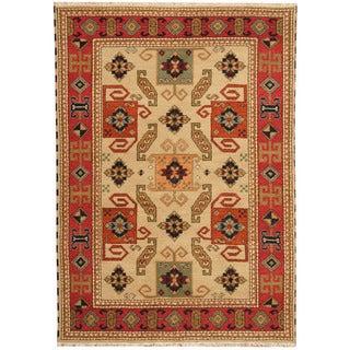 Herat Oriental Indo Hand-knotted Tribal Kazak Beige/ Red Wool Rug (4'8 x 6'7)