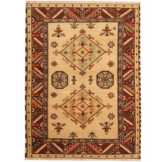 Herat Oriental Indo Hand-knotted Tribal Kazak Beige/ Burgundy Wool Rug (4'10 x 6'5)