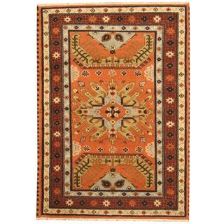 Herat Oriental Indo Hand-knotted Tribal Kazak Rust/ Burgundy Wool Rug (4'10 x 6'8)