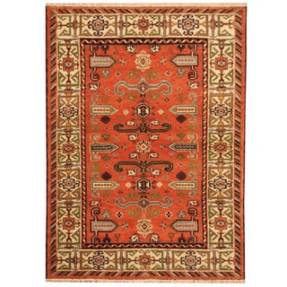 Herat Oriental Indo Hand-knotted Tribal Kazak Rust/ Ivory Wool Rug (4'10 x 6'7)