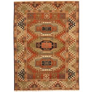 Herat Oriental Indo Hand-knotted Tribal Kazak Chocolate Brown/ Ivory Wool Rug (4'10 x 6'7)