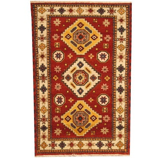 Herat Oriental Indo Hand-knotted Tribal Kazak Red/ Ivory Wool Rug (3'10 x 6')