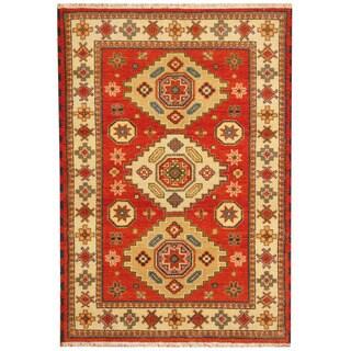 Herat Oriental Indo Hand-knotted Tribal Kazak Red/ Beige Wool Rug (4'2 x 6')