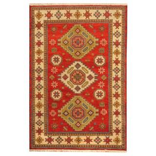 Herat Oriental Indo Hand-knotted Tribal Kazak Red/ Beige Wool Rug (4' x 6')