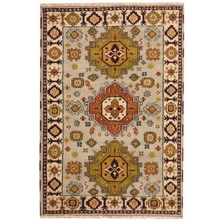 Herat Oriental Indo Hand-knotted Tribal Kazak Light Blue/ Ivory Wool Rug (4' x 5'9)