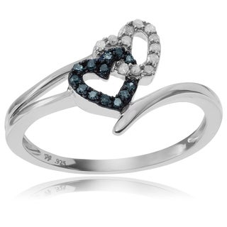 Journee Collection Sterling Silver 1/4 CT TDW Blue and White Diamond Heart Ring