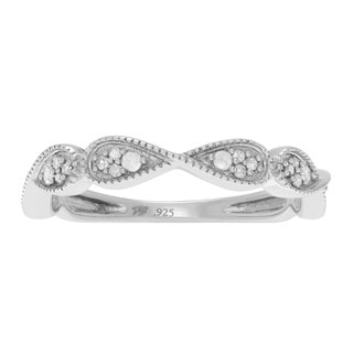 Journee Collection Sterling Silver Pave 1/4 ct Diamond Petite Wedding Band