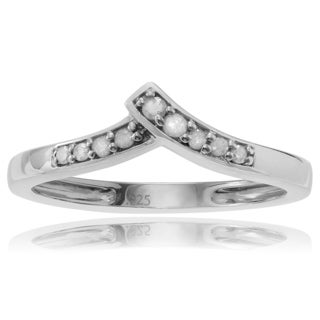 Journee Collection Sterling Silver 1/10 ct Diamond Chevron Ring