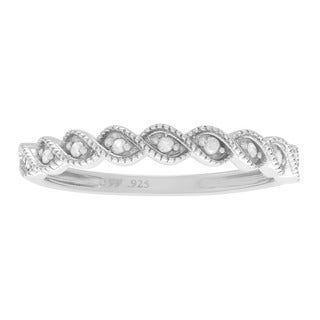 Journee Collection Sterling Silver 1/10 ct Diamond Wedding Band