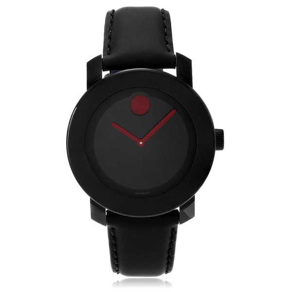 Movado Bold 3600161 Black Leather Strap Watch
