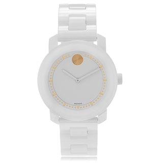 Movado Bold 3600186 Dot Accent Dial White Ceramic Link Watch