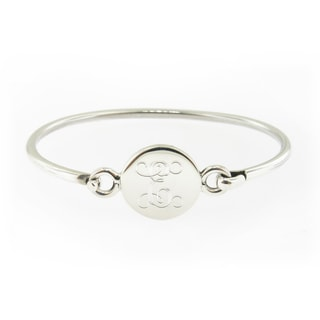 Sterling Silver Personalized Round Hinged Baby Bracelet (Mexico)