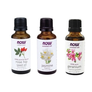 Now Foods Essential Oils Pack of 3 (Rose Hip Seed, Jasmine, Geranium)
