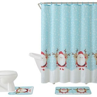 VCNY Holiday Themed Christmas Santa & Reindeer 15-piece Bath Set