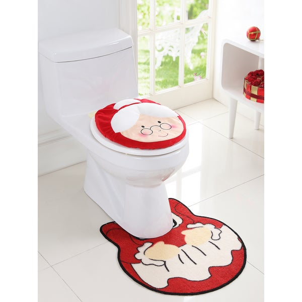 Holiday Themed Christmas Mrs. Claus 2-piece Bath Rug Set