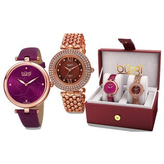 Burgi Women's Colorful Leather Rose-Tone Strap Alloy Bracelet 2-Piece Watch Set - Purple