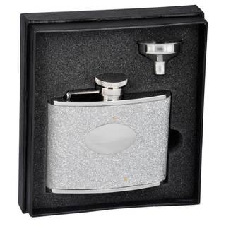 Visol Star Silver Glitter Liquor Essential III Flask Gift Set - 4 ounces