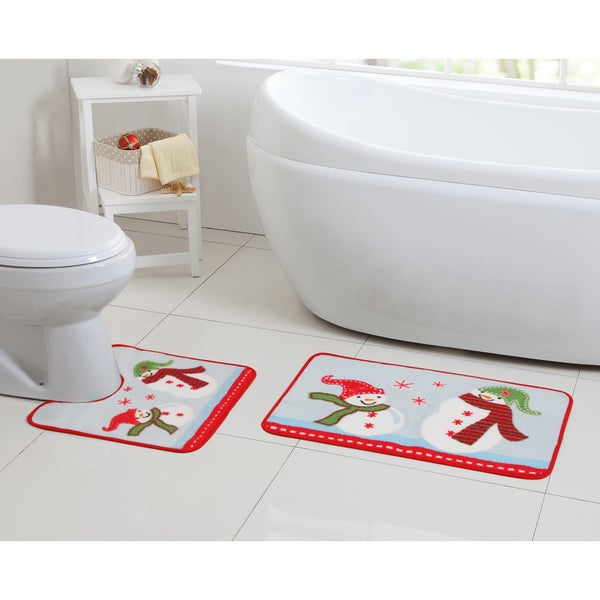 Holiday Themed Christmas Snowman Sledding 2-piece Bath Rug Set