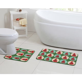 VCNY Holiday Themed Poinsettia Christmas Tree 2-Piece Bath Rug Set