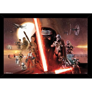 Star Wars Episode VII: The Force Awakens Print with Traditional Black Wood Frame (22 x 34)