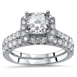 Noori Certified 18k White Gold Enhanced Cushion-cut 2ct TDW Diamond Engagement Ring Set