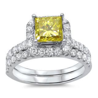 Noori 18k White Gold 1 3/5ct TDW Canary Yellow Princess Diamond Bridal Set (G-H, SI1-SI2)