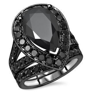 Noori 14k Black Gold 6ct TDW Black Pear-cut Diamond Bridal Set