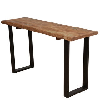 Wanderloot Reclaimed Solid Hardwood Console Table with Architectural Metal Legs (India)