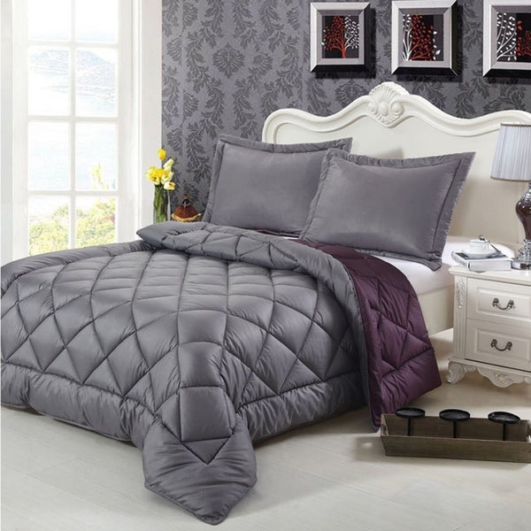 Goose Down-alternative 3-piece Reversible Comforter Set