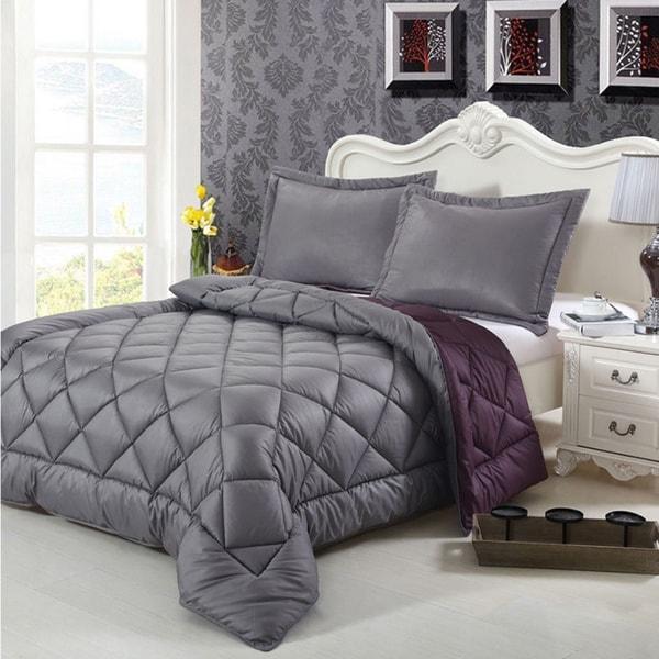 Goose Down-alternative 3-piece Reversible Comforter Set