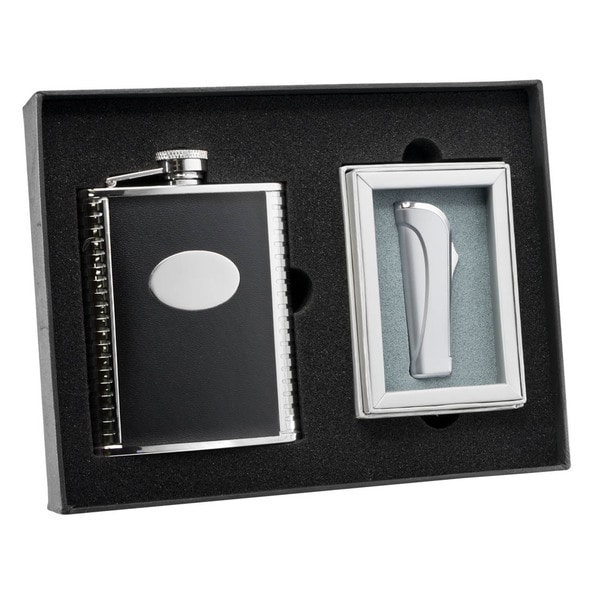 Visol Tux Black Leather Flask and Visol Tux Black Neo Satin Chrome Torch Flame Lighter Set