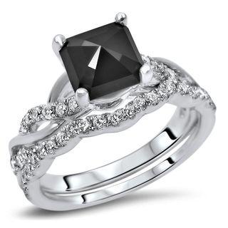 Noori 14k Gold 1 3/5ct TDW Black Diamond Cushion Bridal Set