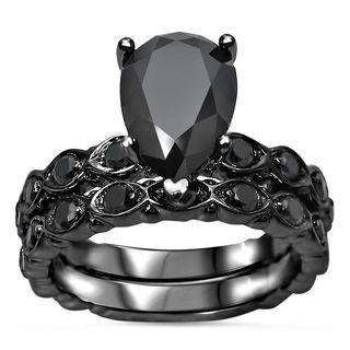 Noori 14k Black Gold 2 1/2ct TDW Black Diamond Pear Shape Engagement Ring Bridal Set